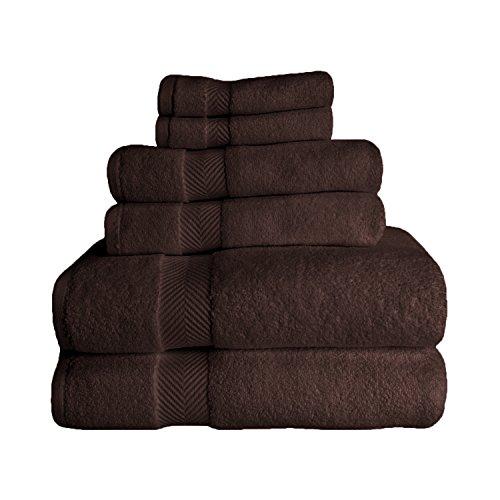 SUPERIOR Zero Twist 100% Cotton Towel Set - 6-Piece Set, Extra Soft Bath Towels, Face Towels and Hand Towels, Long-Staple Cotton Towels, Espresso