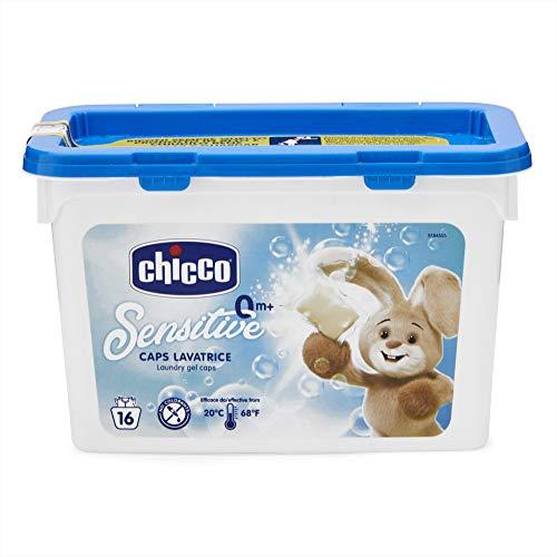 Chicco Sensitive - Detergente dosificador para lavadora, cápsulas estándar, 16 unidades