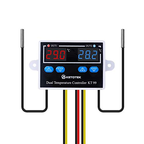 KETOTEK Temperaturregler Digital Thermostat 12V mit 2 fühler, Temperaturwächtermit Steuerschalter für Automatische Heizung und Kühlung Ausgangsleistung Direkt für Inkubator Terrarium