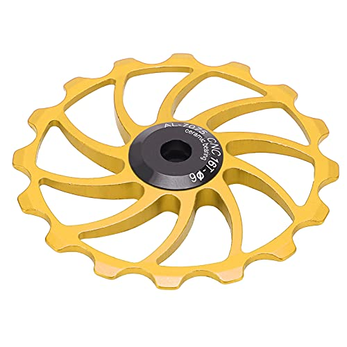 Keenso Rueda de polea de Bicicleta, desviador Trasero de Bicicleta 16T, Bicicletas de Carretera MTB, Piezas de Rueda de guía de polea de rodamiento de cerámica(Oro)