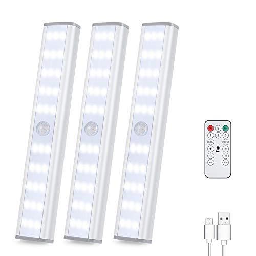 Luce Armadio Led con Sensore,30LEDAutomatiche luce notturna USB Ricaricabile,Sotto Armadio illuminazione,3 modalità di illuminazione, striscia magnetica rimovibile per interni,cucina, scale (3 pezzi)