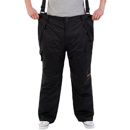 ZKOO Homme Softshell Doublé Polaire Pantalon Imperméable Respirant Camping Ski Pantalons Automne et Hiver Noir