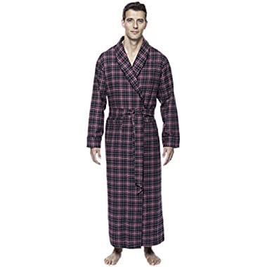 Mens Premium Flannel Long Robe - Plaid Burgundy/Grey - Large/X-Large