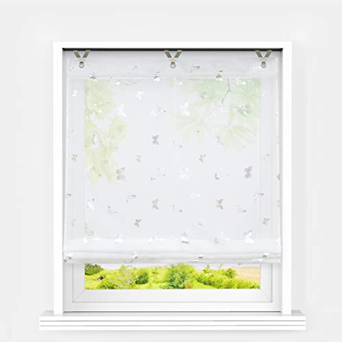 Heichkell Raffrollo mit Ösen Voile Moderne Raffgardine ohne Bohren Kleinfenster Gardine Küche Glänzende Schmetterling-Dekomuster Weiß BxH 80x130 cm