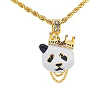 """Yellow Gold-Tone Hip Hop Bling Pave Stones Panda with Crown Pendant with 24"""" Rope Chain"""