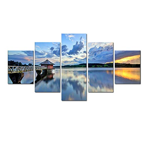 Swlyddm Canvas Print 5 Piece Paintings Images - Gazebo by the sea - Wall Art Modern Murals Living Room Bedroom Decoration - Ready to Hang - 50X25cm/19.7'x9.8'