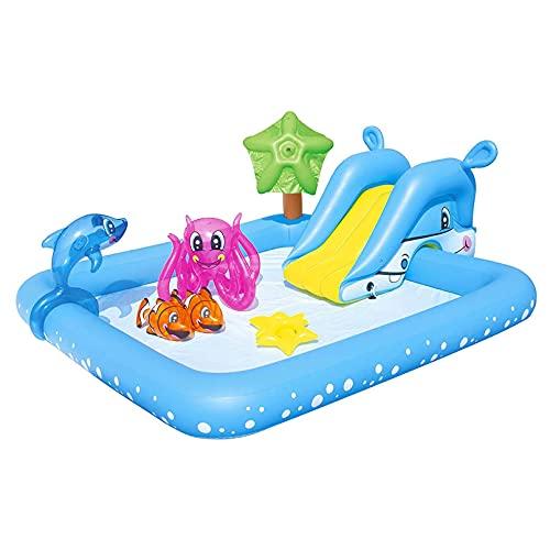 Piscina para Niños, Agua Plegable Inflables para Niños Piscina, Centro De Natación Móviles Rectangular Piscina De Salón Familiar, Azul, 94x81x34in
