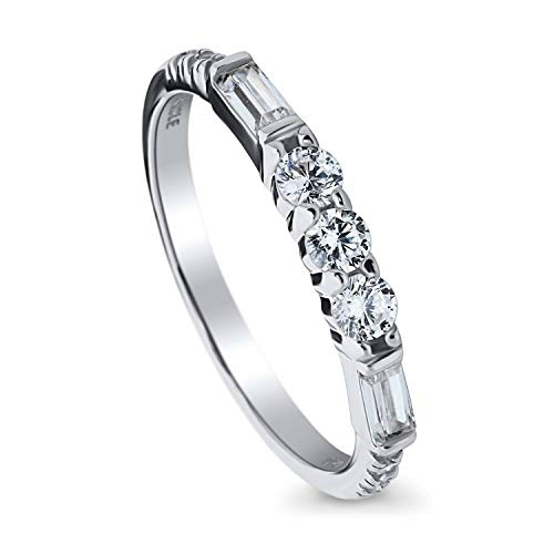 BERRICLE Rhodium Plated Sterling Silver Cubic Zirconia CZ Art Deco Anniversary Wedding Half Eternity Band Ring Size 5