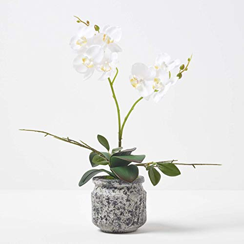 HOMESCAPES Artificial White Orchid in Pot 42 cm Tall Lifelike Faux Orchid Plant In Dark Grey Cement Pot with Real Touch Silk Flowers and Green Leaves Phalaenopsis Orchid Flower for Indoor Decoration