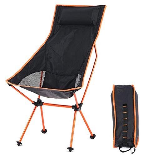 Slakr Chaise de camping pliante ultra légère et compacte avec appuie-tête jusqu'à 150 kg, Orange