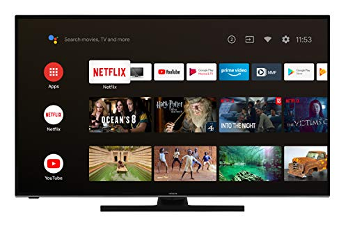Hitachi U43KA6150 109 cm / 43 Zoll Fernseher (Android 9.0 Smart TV inkl. Prime Video/Netflix/YouTube, 4K UHD + HDR 10, Bluetooth, PVR-Ready, Triple-Tuner) [Modelljahr 2020]