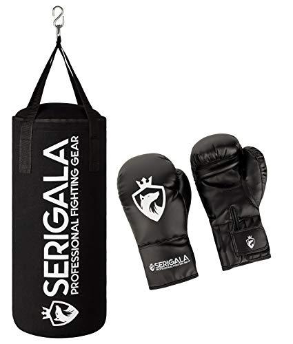 Serigala Boxsack Set für Kinder und Jugendliche - Inklusive 8oz Boxhandschuhe und stabilem Haken zur Aufhängung - 7 kg Canvas Punching Bag für Boxtraining - 62 x 23 cm Boxing Bag Schwarz