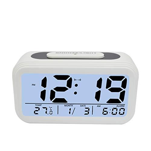KidsPark Wecker Digital, Digitaler Wecker LED Kinderwecker mit Datum Temperatur Anzeige Batterie Digitalwecker Reisewecker mit Snooze und Nachtlicht Funktion, Weiß