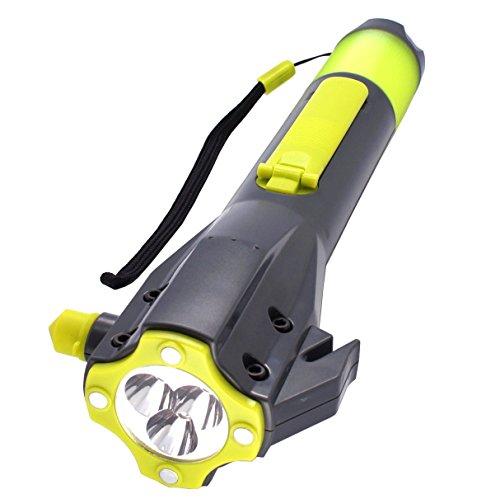 Emergency LED Flashlight, SOS Strobe, Windshield Hammer Window Breaker, Seatbelt Cutter,Weatherproof,Rechargeable Hand Crank Flashlight, Cell Phone Charger for Hurricane Survival Kit