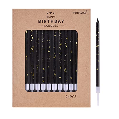 PHD CAKE 24-Count Black Gold Long Thin Birthday Candles, Cake Candles, Birthday Parties, Wedding...