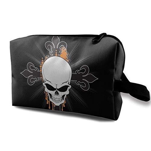 Hdadwy Art Arrow Skull Travel Estuche de Maquillaje con muñequera Bolsas de cosméticos Neceser portátil con Cremallera para niñas y Mujeres