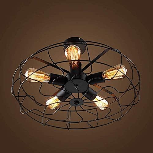 Lujas LED moderna Iluminación de techo incrustada American Country Industrial Creative Personalidad Lámpara EUROPEO Retro Fan Electric Fan Techo, L ? 5cm  N