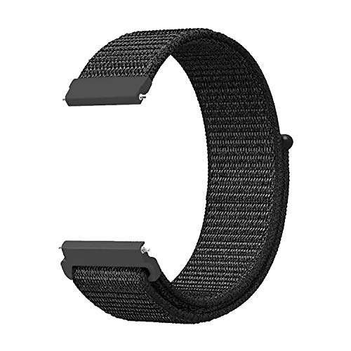 Morsey 20mm Quick Release Watch Band Compatible with Samsung Galaxy/Galaxy Watch Active 2 40mm 44mmband/ Pebble/Gizmo Watch Smart Watch, Nylon Breathable Replacement Sport (Black)