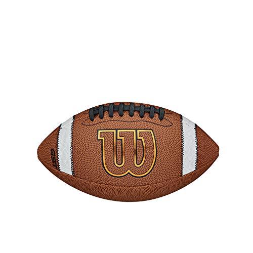 GST Official Composite Balón de fútbol Americano Wilson, Cuero Compuesto, Tamaño Junior (9 - 12 años), Marrón, WTF1783XBN