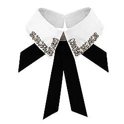 L-White Rhinestone Fake Collar Detachable Lapel