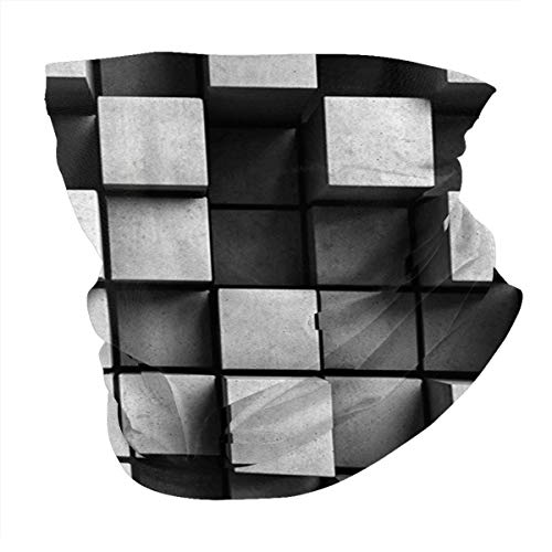 cap hat Outdoor Headband Head Scarf Scarf Neck Gaiter Face Bandana Scarf Modern Decor Geometric Minimalist Contemporary Art Square Bird View Building Like Image Black and Grey