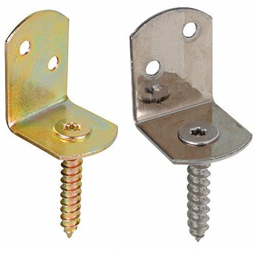 25 x GAH Flechtzaunbeschlag L-Form verzinkter Stahl, Edelstahl Flechtzaunhalter (Edelstahl)