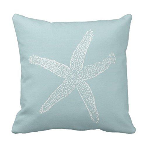 Emvency Throw Pillow Cover Green Star Vintage Starfish Pastel Seafoam Blue Fish Decorative Pillow Case Home Decor Square 18 x 18 Inch Pillowcase