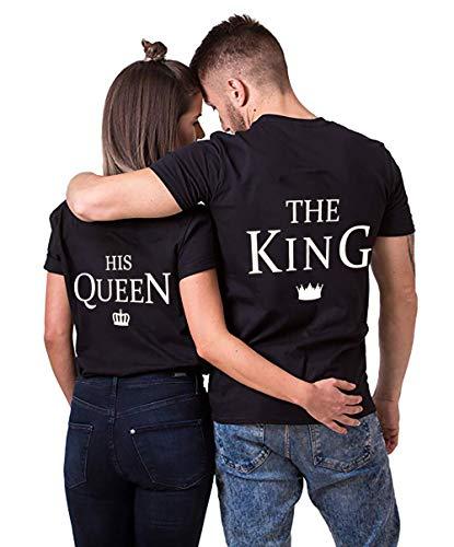 AJUN shop King Queen Shirts Couple Shirt Pärchen T-Shirts Paar Tshirt König Königin Kurzarm 1 Stücke, King-schwarz, XL