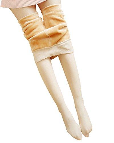 Mujer Pantalones Elásticos Leggings Invierno Grueso Cálido Forrado Cintura Alta Leggins Desnudo 2 One Size