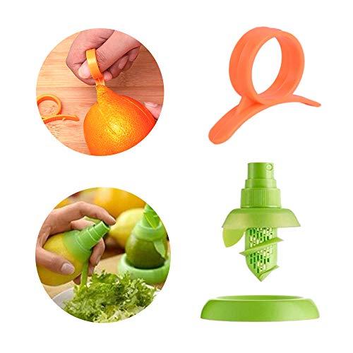 Hebudy Orangenschäler Zitronensprüher Zitruspresse Küche Squeezing Tool 2 Stück