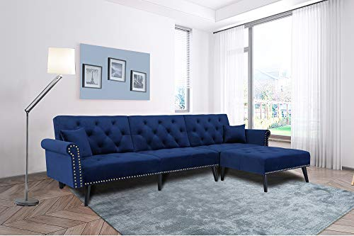 Navy Blue Sectional Sofa Sleeper Bed,JULYFOX 900 LB Heavy Duty 115 inch Velvet Sofa Futon W/Chaise Recliner Back Modern Day Bed W/Nail Head Trim for Living Room Small Spaces Office
