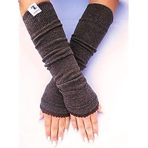 Armstulpen, lang – braun, meliert mit elastischer Borte