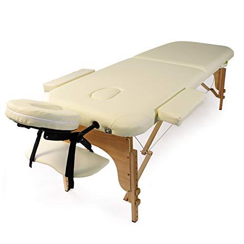 WilTec Table de Massage 2 Zones Couleur Crème Pliable Accoudoirs Chaise Cosmétique Réglable Hauteur Mobile