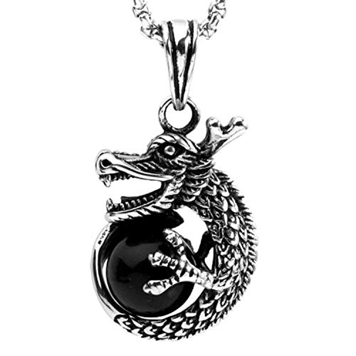 OAKKY Men's Vintage Stainless Steel Hip Hop Dragon Claw Round Black Ball Gemstone Knight Pendant Necklace Lucky Beast Amulet 23.6' Chain