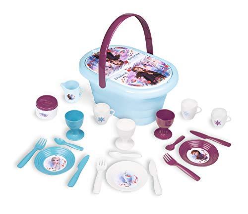 Smoby – Die Eiskönigin Picknick-Korb – Spielset mit Spielzeug-Teeservice (20 Teile), inkl. Teller, Besteck, Becher, für Kinder ab 3 Jahren, blau