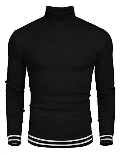 COOFANDY Men's Basic Ribbed Thermal Knitted Pullover Slim Fit Turtleneck Sweater,Black,Large