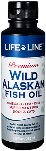 Life Line Pet Nutrition Wild Alaskan Fish Oil Omega-3 Supplement for Skin & Coat – Supports Brain, Eye & Heart Health in Dogs & Cats, 8.5oz