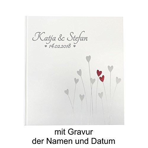 KATINGA Personalisiertes Fotoalbum Bleeding Heart für Hochzeiten, Kommunion, Geburtstage (Fotoalbum mit Gravur)