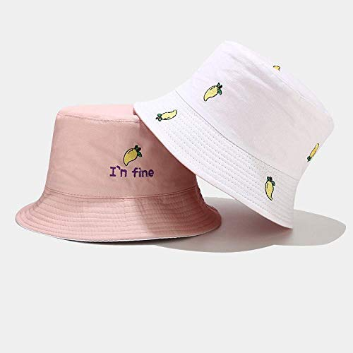 Bucket Hat Fruit Mango Embroidery Two Sides Bucket Hat Fisherman Hat Outdoor Travel Hat Sun Cap Hats For Men And Women-Pink_56-58Cm