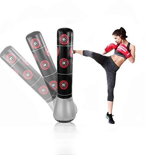 Boksväska, stående boksäck Uppblåsbar stanspelare Tumbler Vuxna Fitness dekompression Sandpåsar Kick Fight Training 145 CM