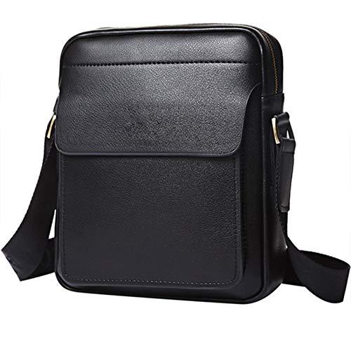 Leren crossbodytas voor heren met één schouder, zakelijke leren tas, casual trendy rugzak,Black