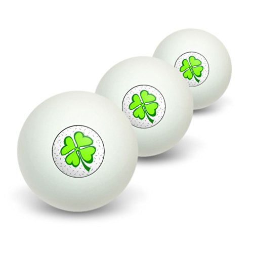 Review Graphics and More Lots of Luck – Lucky Irish Four Leaf Clover Novelty Table Tennis Ping Pong Ball 3 Pack