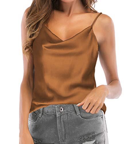 TOUTOUAI Women's Cowl Neck Camis Satin Tank Top Camisoles Blouses (Khaki, 4-6)