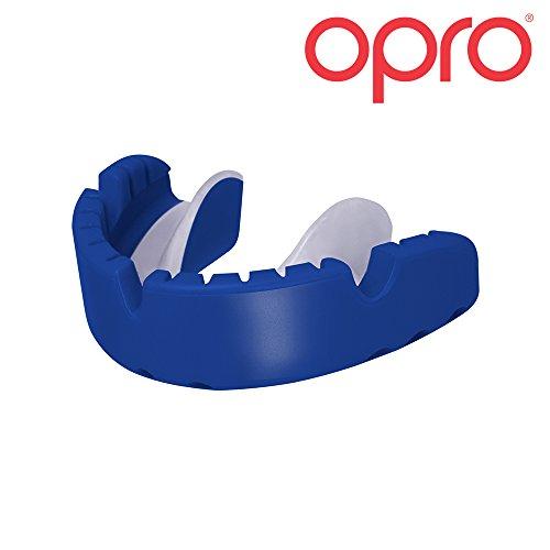 Opro Ortodontico Paradenti Self-Fit Gold Braces - Paradenti da Apparecchio Ortodontico per Basket, Rugby, Hockey, MMA, Boxe, Lacrosse, Football Americano - Progettato e Realizzato in UK (Blu/Perla)