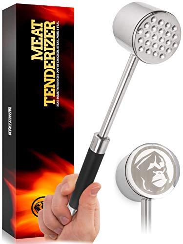 Mountain Grillers Fleischklopfer Doppelseitiger Edelstahl-Fleischhammer um Fleisch zu plattieren und weicher zu Machen - Fleischplattierer für Schnitzel, Steaks u. m. - Rostfrei, spülmaschinenfest