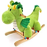 WMKEDY Caballo de oscilación de Madera Niño Paseo en el Juguete Mecedora Dagwood dragón Cubierta al Aire Libre de la Felpa del Animal Relleno del Eje de balancín de Infantil Ride