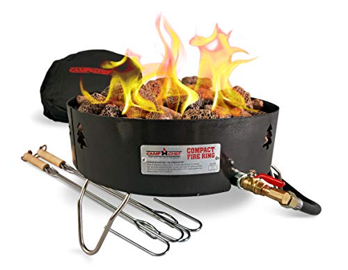 Camp Chef Compact Fire Ring, Smokeless propane-fueled flame, 15' diameter x 13' tall