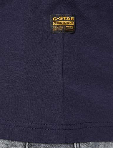 G-STAR RAW Originals Stripe Logo Camiseta, Sartho Blue 336-6067, M para Hombre