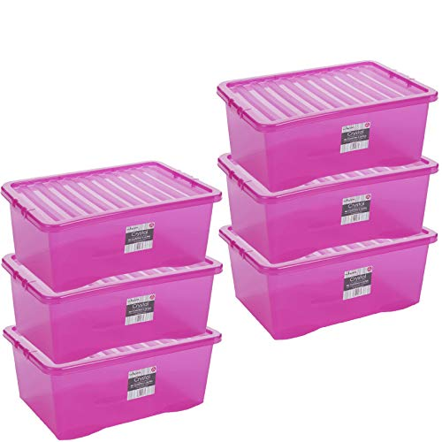 Aufbewahrungsbox mit Click-Deckel - 6 Stück 45 Liter - LEBENSMITTELECHT - 60x40x25cm - transparent PINK - stapelbar - Kunststoff Box Kiste Plastik Behälter Organizer Büro Spielzeugkiste Stapelkiste