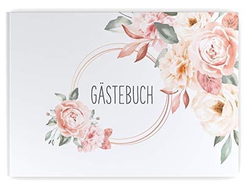 DeinWeddingshop Gästebuch Hochzeit | 104 Seiten | Hardcover DIN-A4 - ohne Fragen blanko | Hochzeitsgästebuch Hochzeitsalbum Hochzeitsbuch Hochzeitsgeschenk (Flower Love)